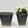 Slinga - krukor i grön glasyr - Liten kruka H 17 cm, Diam 16 cm