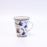 Blå blomma - handdrejad mugg