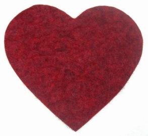 Grytunderlägg i ull - Hjärta - Hjärta