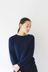 Bristol, stickad tröja marinblå i alpacka ull - Stl S