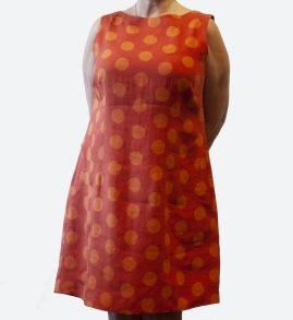 Klänning Prick röd/orange - Prick röd/orange XS