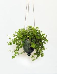 Löv - handdrejad ampel grön - H 15 cm Diam 13 cm