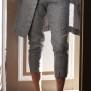 Linnebyxor i mönstrad grå - Linnebyxor med grått mönster XL