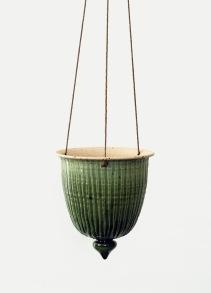 Tidlösa - handdrejad ampel grön - H 14 cm Diam 12 cm