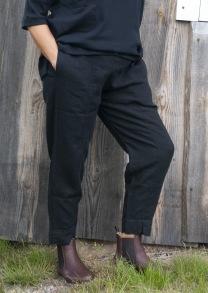 Linnebyxor med sprund - svarta - XS. Linnebyxor med sprund - svarta