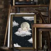 Baby moon black Print