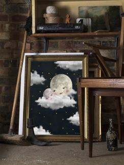 Baby moon black Print - baby moon black