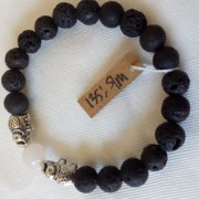Aromaarmband, rosenkvartz/ametist, elefant/buddha
