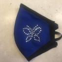 Μάσκα Προσώπου Ενηλίκων - Face mask adult - μπλέ με πεταλούδα στράς - blue with butterfly strass