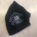 Μάσκα Προσώπου Ενηλίκων - Face mask adult - μαύρη με δελφίνι στράς - blach with dolphin strass