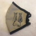 Μάσκα Προσώπου Ενηλίκων - Face mask adult - μπέζ με γάτα -beige withcat