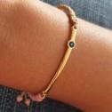 Βραχιόλι με μάτι σε χρυσό χρωμά μέταλο - Bracelet gold colored with eye - Βραχιόλι χρυσό χρώμα με μάτι, ρόζ πέτρα & μπέζ