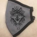 Μάσκα Προσώπου Ενηλίκων - Face mask adult - Μάσκα γκρί με μαύρο , λύκος -Face mask grey with black, wolf