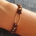 Βραχιόλι χρυσό χρωμά μέταλο και πέρλες- Bracelet gold colored and pearls - Kαφέ κροσέ με χαλκό πέτρα και μέταλλο - Brown crocheted with bronz stone and metal