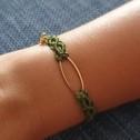 Βραχιόλι χρυσό χρωμά μέταλο και πέρλες- Bracelet gold colored and pearls - Πράσινο κροσέ με χρυσή μπάλα - Green crocheted with golden details