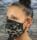 face mask black, grey animal print
