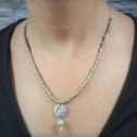 Κολιέ χειροποίητο - Necklace handmade - Kολιέ μπέζ πέτρα με μάτι, ασιμή ασπρο & γυαλί - Necklace beige stone with eye & silver white  and glas