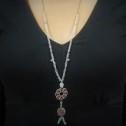 Κολιέ χειροποίητο - Necklace handmade - Kολιέ με υαλί πέτρα και ασημί σχέδιο - Necklace with glas stone and silver colored deign
