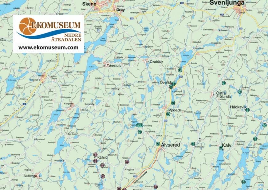 Gränsbygden Karta ekomuseum nedre Ätradalen