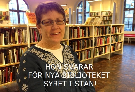Ovan bibliotekschefen Margareta Engstrand. Nedan panoramabild entréplanet.