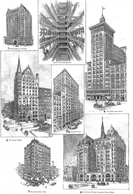 Skyskrapare i Chicago. Ny Illustrerad Tidning 1893./ Sundbybergs Museum. Se text till höger!