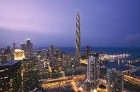Chicago Spire; bygget på is 2008; grundarbete gjort. Konstnärs gestaltning av den tänkta byggnaden. 610 m.