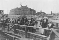 Utvandrare blir invandrare när de går iland vid Ellis Island 1902.