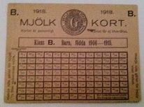 Mjölkkort från 1918.