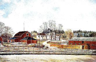 Sundbybergs gård byggd 1785.. Målning av P E Norling. Gården hade infart från Landsvägen. De två flyglarna tillkom 1788. Bild från Sundbybergs Hembygdsmuseum.