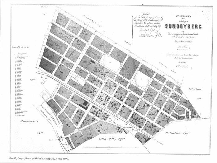 Karta över köpingen Sundbyberg från 1898. Bilden är klickbar. Sturegatan ligger nr 2 räknat från järnvägen, det svarta strecket på bilden. Publiceras med tillåtelse från Sundbybergs Museum. - Sieur Athos -