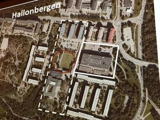 Karta över Hallonbergen. Helstreckade området med fastigheter avses säljas. Streckade området, inkluderande fastigheter/byggrätter kan ev komma att avyttras. Röda cirkeln är område som inte får röras.