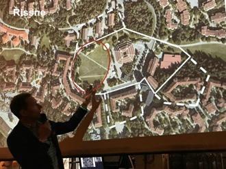 Rissne: helstreckad linje är område för avyttring; streckade är områden för ev tilläggsköp av fastighet och/eller byggrätt. Röda linjen markerar område som inte får användas. Motsvarande gäller kartan på Ekbacken nedan; här gäller försäljning av fastigheter/byggrätter.