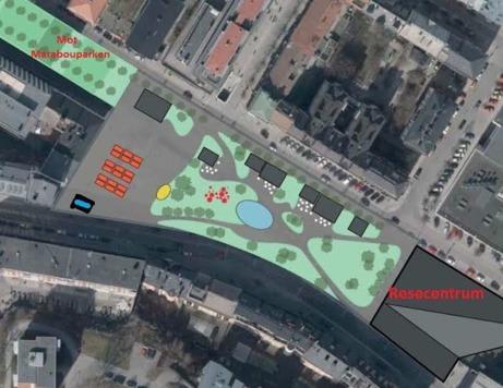 Nätverket Trivsam Stadskärna är riktigt militant för att få ett grönt torg enl bilden tv samt för låga takhöjder  i den nya stadsdelen och för en intakt Maraboupark utan yttre störningar. Bilden fr fören Ny stadskärna.