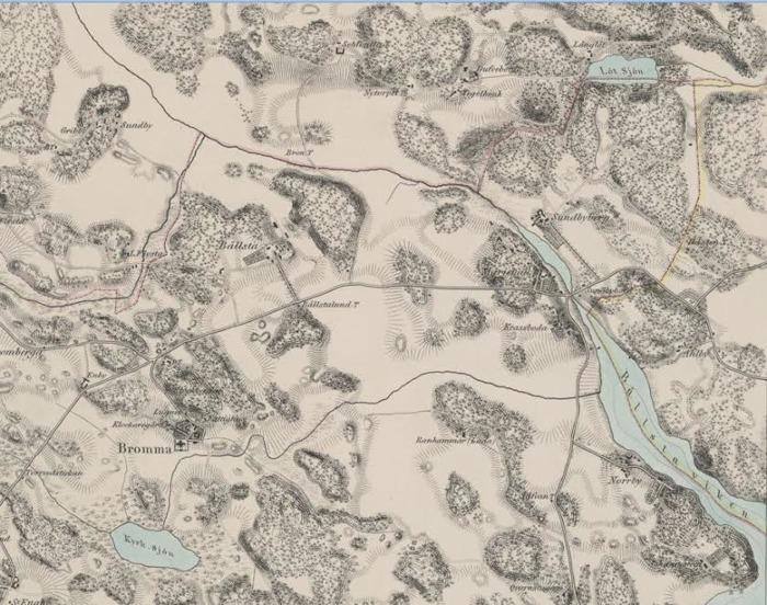 """Från KB.Ovan detalj från blad II i """"Trakten omkring Stockholm i nio blad"""" utgiven avTopografiska Corpsen 1861. Nedan: del av kartan ovan. Lötsjön inskrivet. Man kan ana en förbindelse mellan ån och Lötsjön"""
