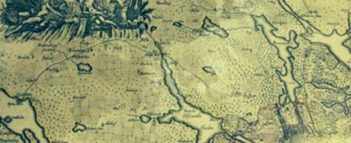 Kartografen och ingenjören Georg Biurman upprättade Charta Öfver Stockholms Stads Belägehet 1750-1751. Ovan ser vi en del av kartan som visar den första kungsvägens sträckning från Stockholm till Drottningholms slott. Hela kartan täcker ett område från Drottningholms slott i väst till Lidingö stad i öst samt från Ältasjön i syd till Edsviken i norr. Bilden är tagen av mittsundbyberg.se på Kungliga Bibliotekets kartavdelning i Stockholm.
