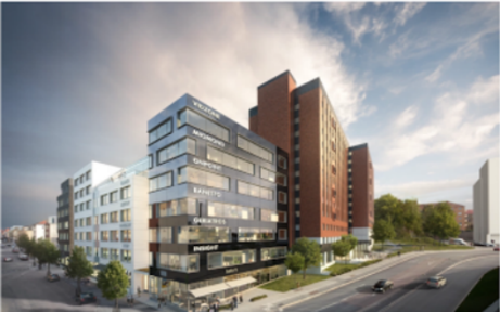 Vårdkomplexet Kronan för en tillbyggnad för bla handel, konferens och restaurang.