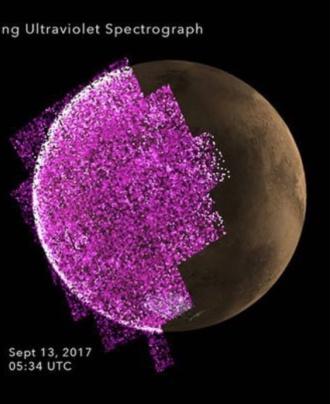 Det skär-lila visar den strålning som la sig på marsytan och försvann först efter två dagar.