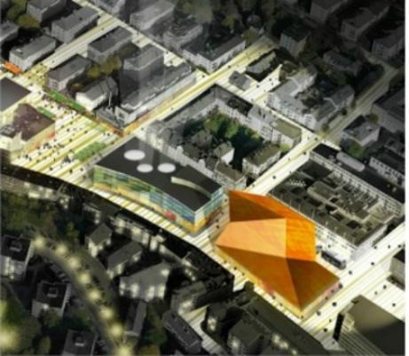 Whites förslag till designbyggnad på torget finns i Stadens vision 20