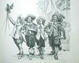 Från början var vi tre. Med signaturer efter  de tre musketörerna. Tyvärr blev det inte som tänkt.  Jag blev istället en one-man-industry. Om man ser undertecknat  med Sieur Athos, så är det jag. Numera skriver jag ut mitt namn.  Bild från publicering 1844.