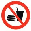 Förbudsskylt Mat och dryck får ej förtäras - 210 mm dekal självhäftande