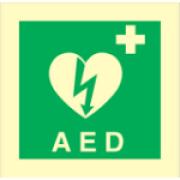 Skylt AED