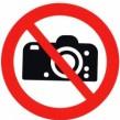 Förbudsskylt Fotografering förbjuden - 210 mm i diameter dekal (självhäftande)
