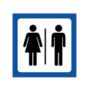 Skylt Dam & Herr toalett
