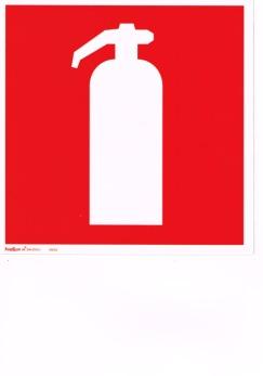 Efterlysande handbrandsläckareskylt - 200 x 200 mm i aluminium eft.lys.