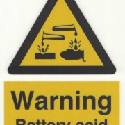 Skylt Warning Battery Acid