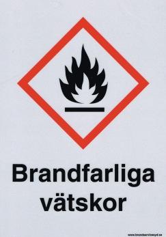 Skylt Brandfarliga Vätskor - 210 x 297 mm i aluminium