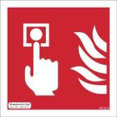 Skylt Brandlarmsknapp efterlysande i vinkel 200x200 mm i aluminium