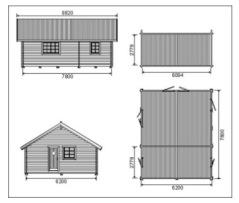 Exempel på ett litet hus med mått