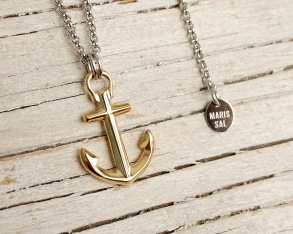 ANCHOR'S AWEIGH Ankarhalsband - Silver/guld - Anchor necklace, one size