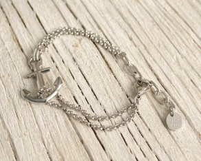 VINGA Anchor bracelet, silver - Silver, one size